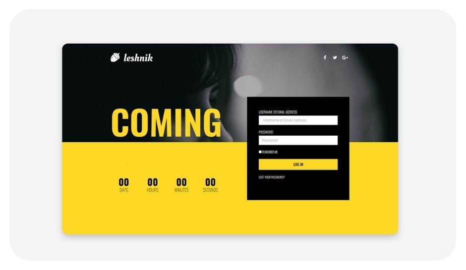 Leshnik coming soon page