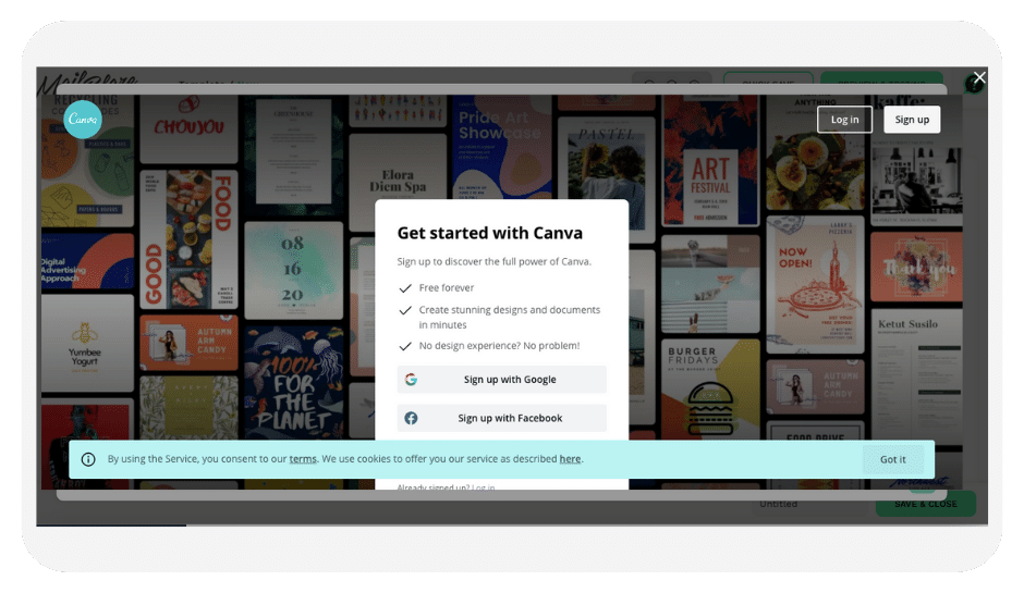 Sign up to Canva!