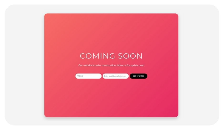 Simple Gradient coming soon page