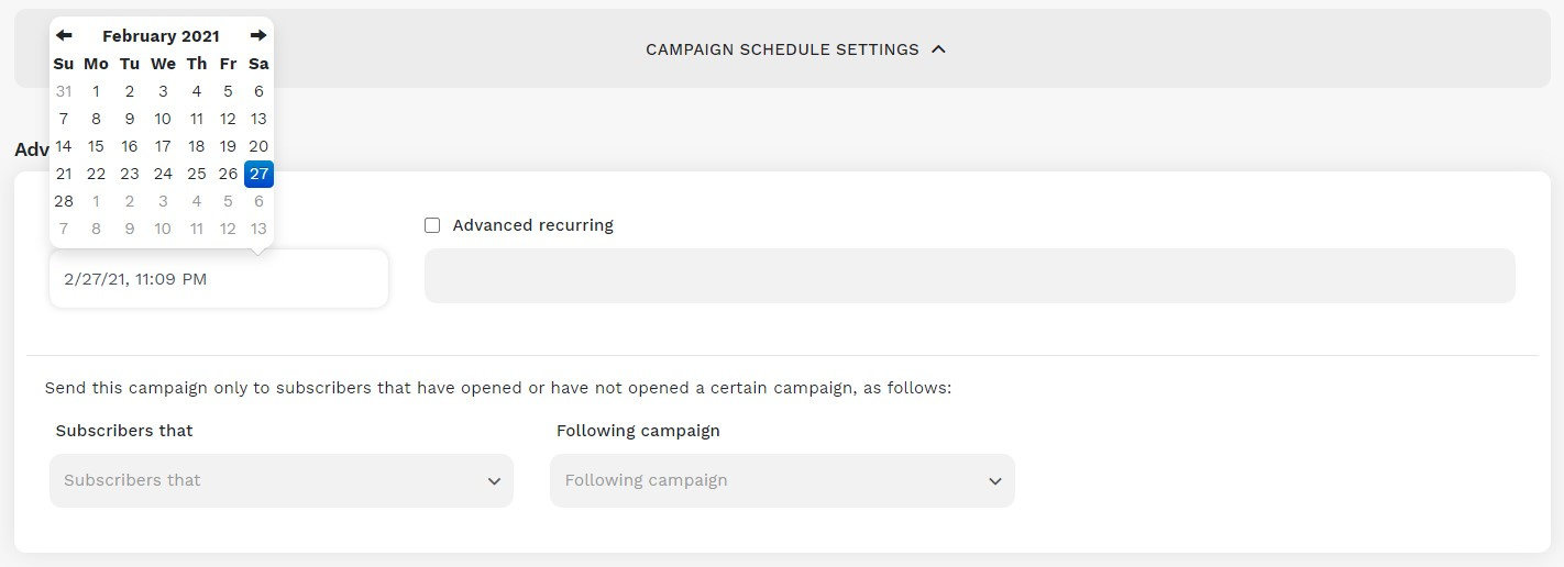 Campaign Schedule Settings