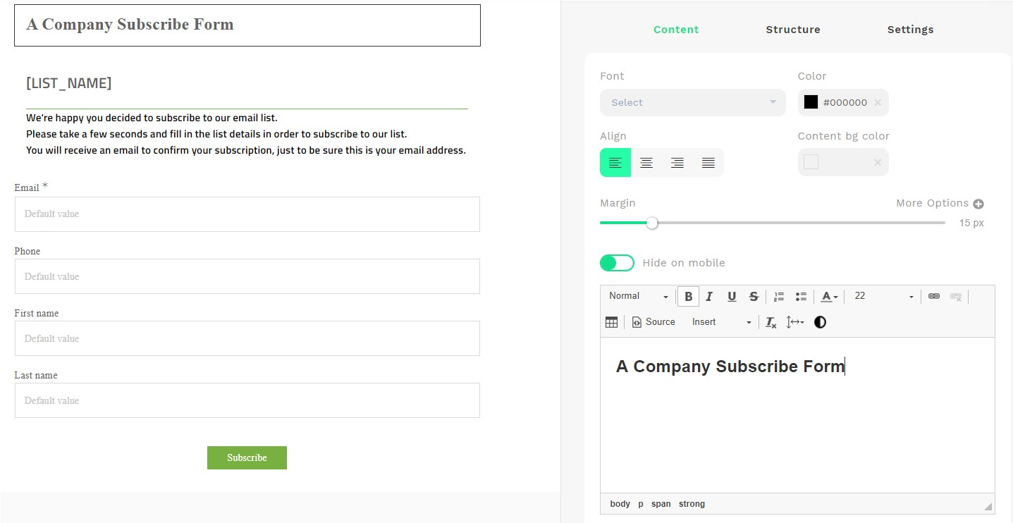 Page & Email Builder in Action