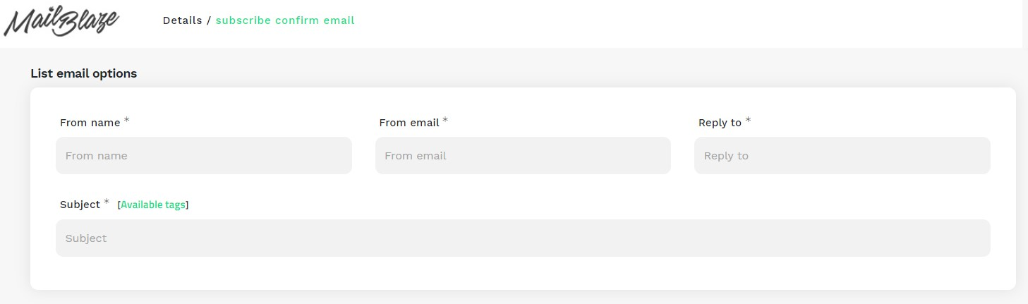 List Email Options