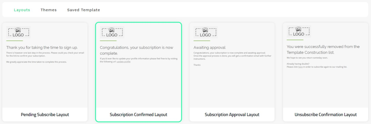 Subscription Confirmed Layout