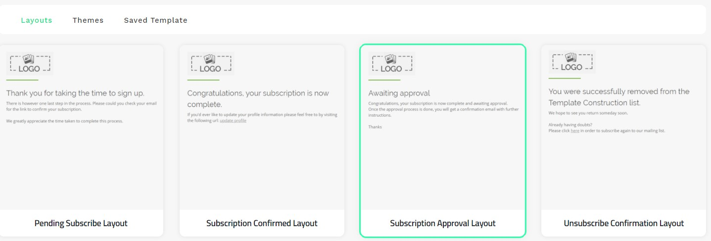 Subscription Approval Layout