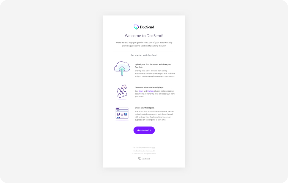 DocSend Welcome Email snapshot